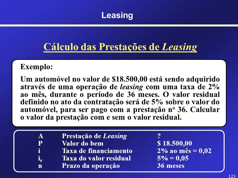 Cálculo das Prestações de Leasing