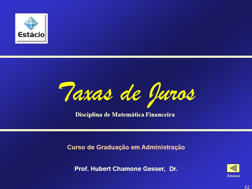 Taxas de Juros Disciplina de Matemática Financeira