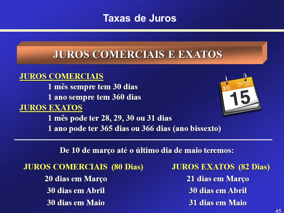 JUROS COMERCIAIS E EXATOS