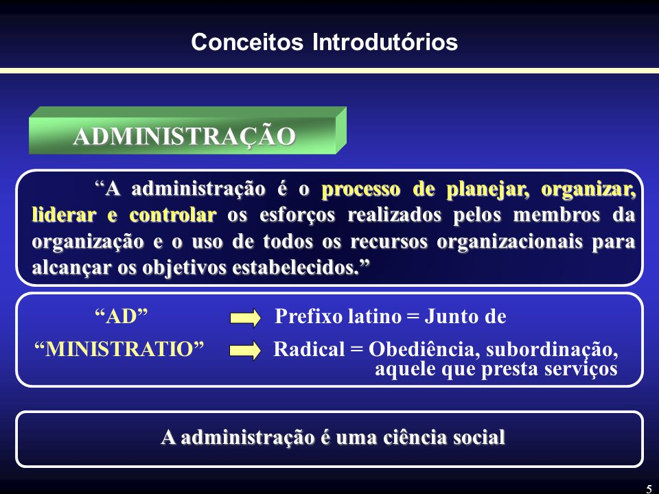 Conceitos Introdutórios A administração é uma ciência social