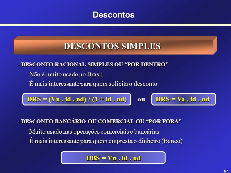 DRS = (Vn . id . nd) / (1 + id . nd) ou DRS = Va . id . nd