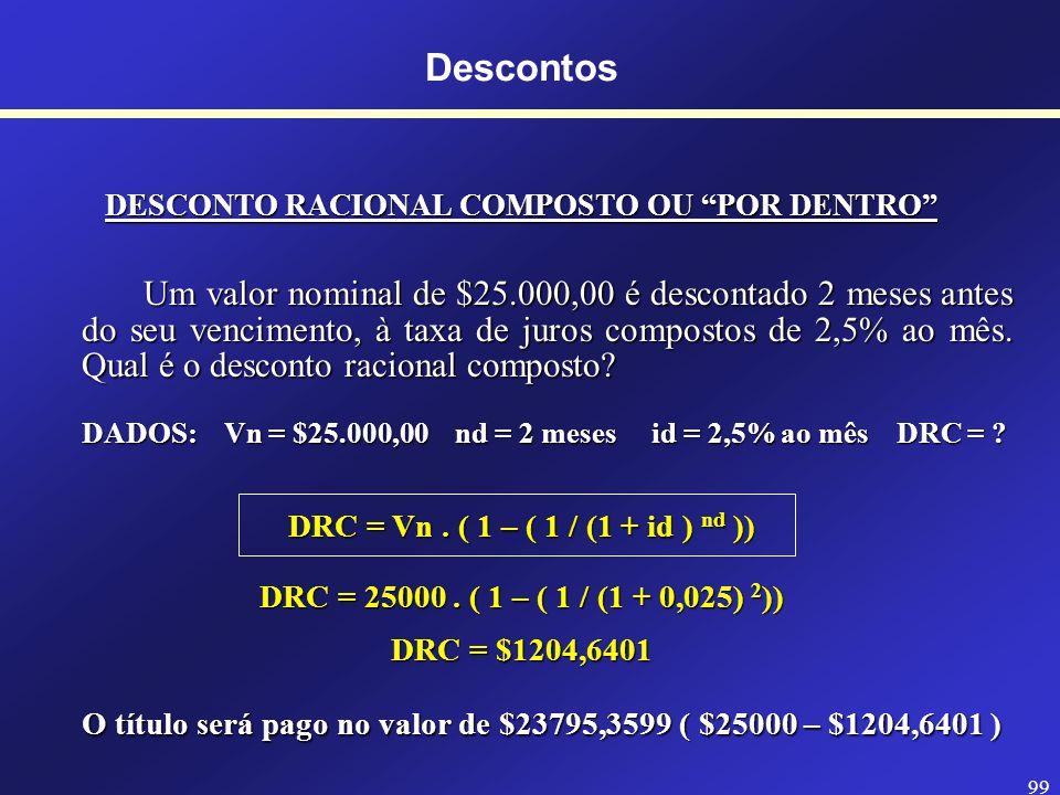 Descontos DESCONTO RACIONAL COMPOSTO OU POR DENTRO