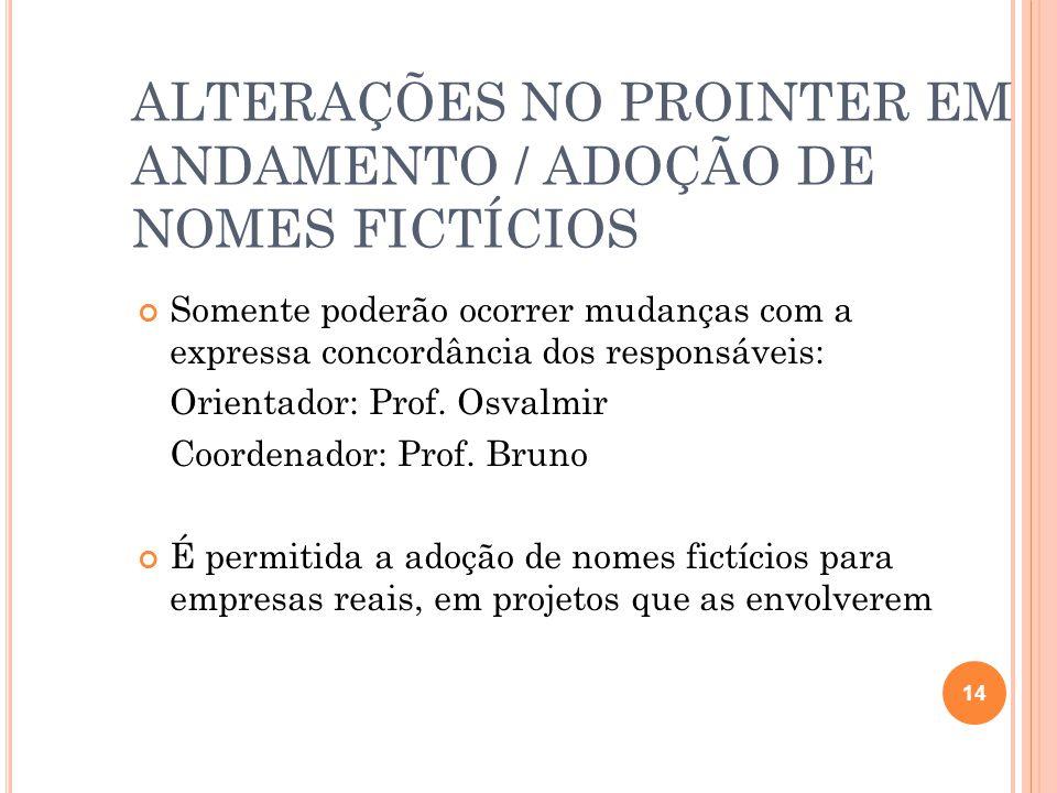 ALTERAÇÕES NO PROINTER EM ANDAMENTO / ADOÇÃO DE NOMES FICTÍCIOS