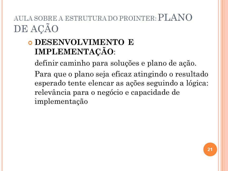 AULA SOBRE A ESTRUTURA DO PROINTER: PLANO DE AÇÃO