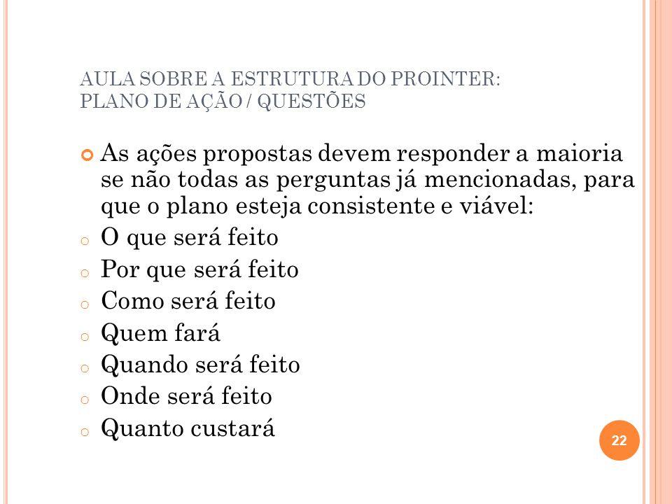 AULA SOBRE A ESTRUTURA DO PROINTER: PLANO DE AÇÃO / QUESTÕES