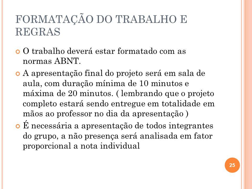 FORMATAÇÃO DO TRABALHO E REGRAS