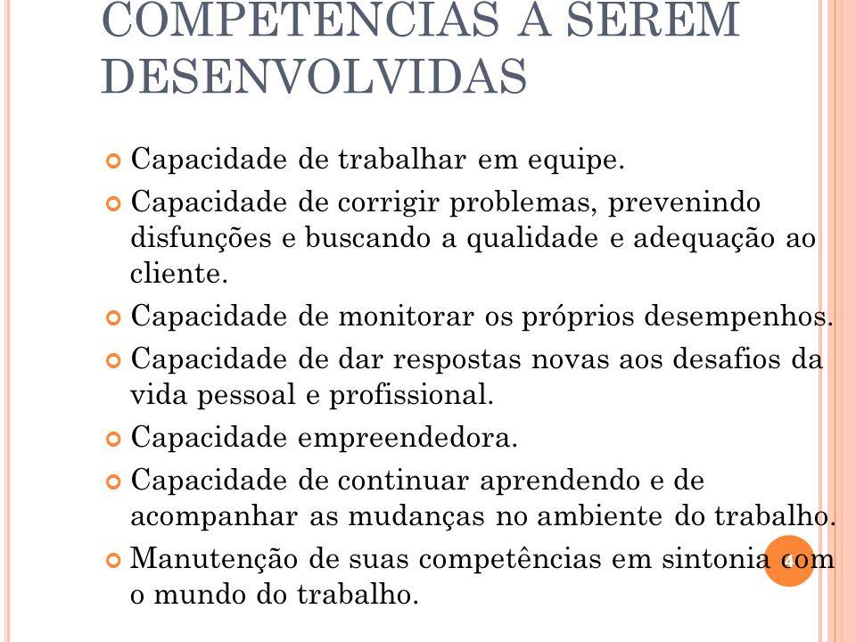 COMPETÊNCIAS A SEREM DESENVOLVIDAS