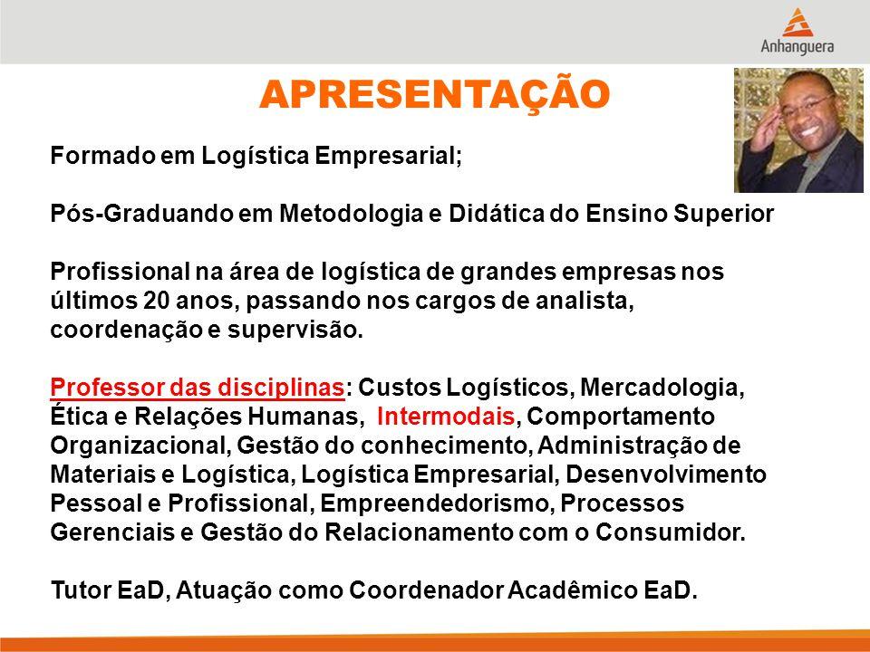 APRESENTAÇÃO Formado em Logística Empresarial;