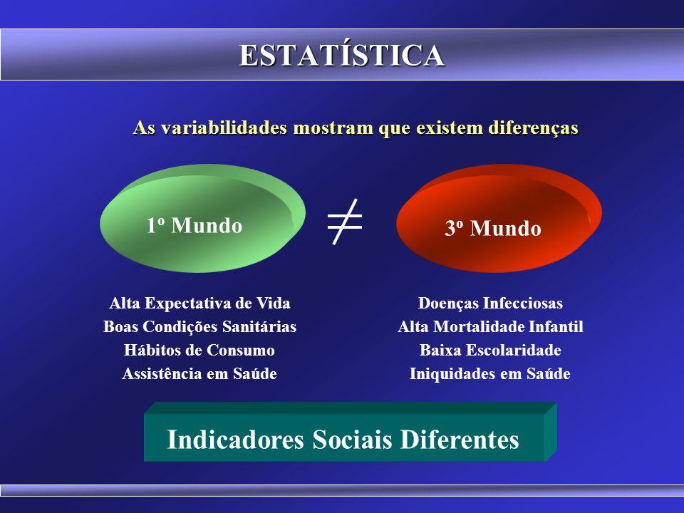 ESTATÍSTICA Indicadores Sociais Diferentes 1o Mundo 3o Mundo