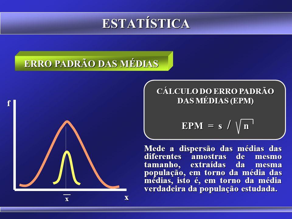 CÁLCULO DO ERRO PADRÃO DAS MÉDIAS (EPM)