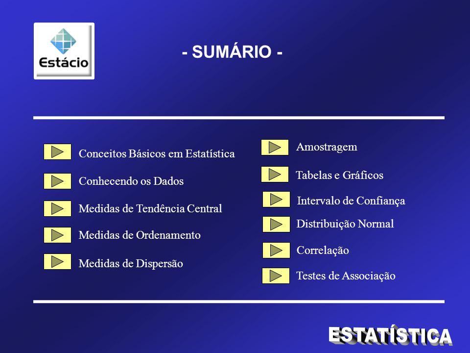 ESTATÍSTICA - SUMÁRIO - Amostragem Conceitos Básicos em Estatística