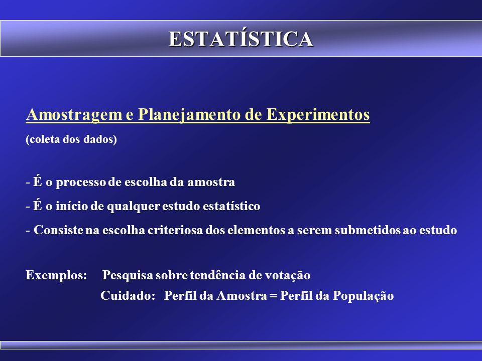ESTATÍSTICA Amostragem e Planejamento de Experimentos