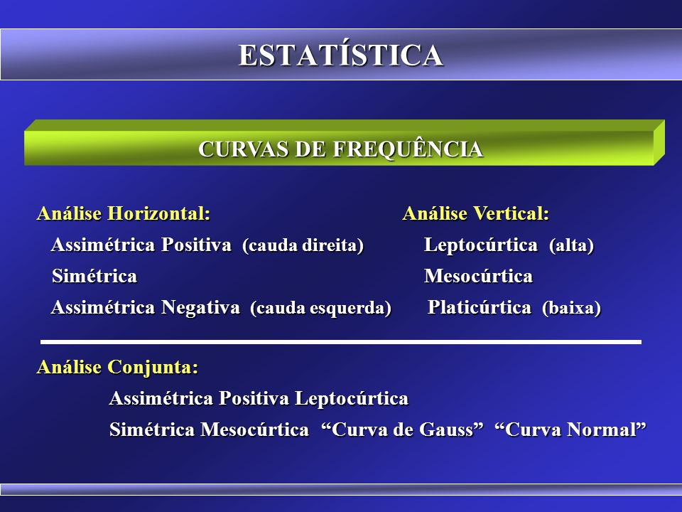 ESTATÍSTICA CURVAS DE FREQUÊNCIA Análise Horizontal: Análise Vertical: