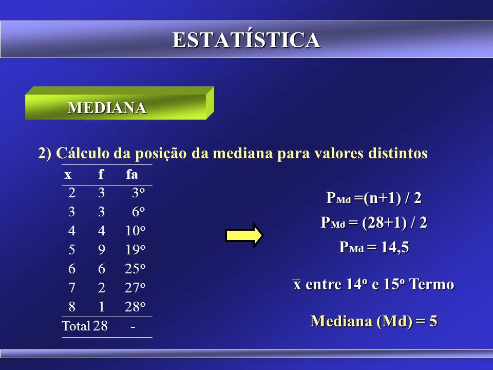 ESTATÍSTICA MEDIANA. 2) Cálculo da posição da mediana para valores distintos. x f fa. 2 3 3o.