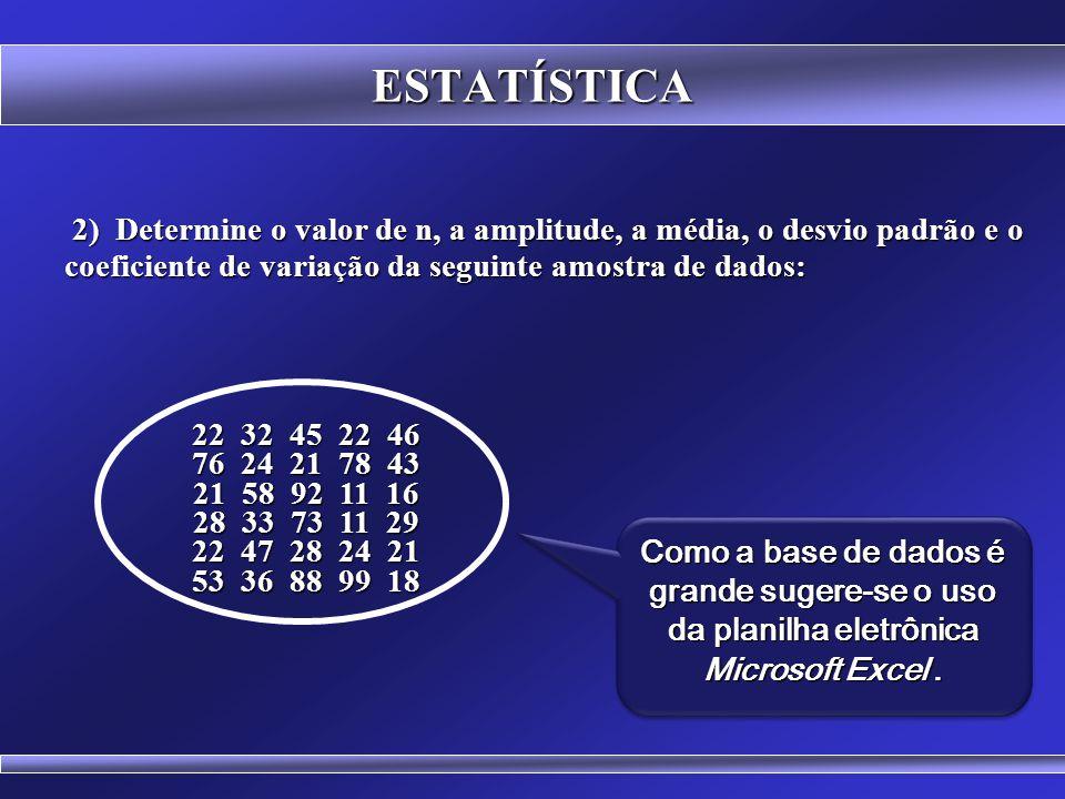 ESTATÍSTICA 2) Determine o valor de n, a amplitude, a média, o desvio padrão e o coeficiente de variação da seguinte amostra de dados: