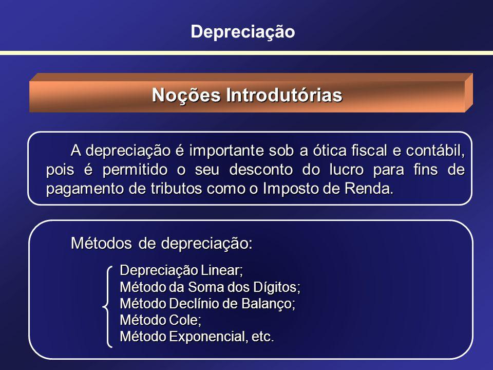 Noções Introdutórias Depreciação