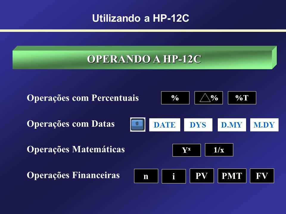 OPERANDO A HP-12C Utilizando a HP-12C Operações com Percentuais