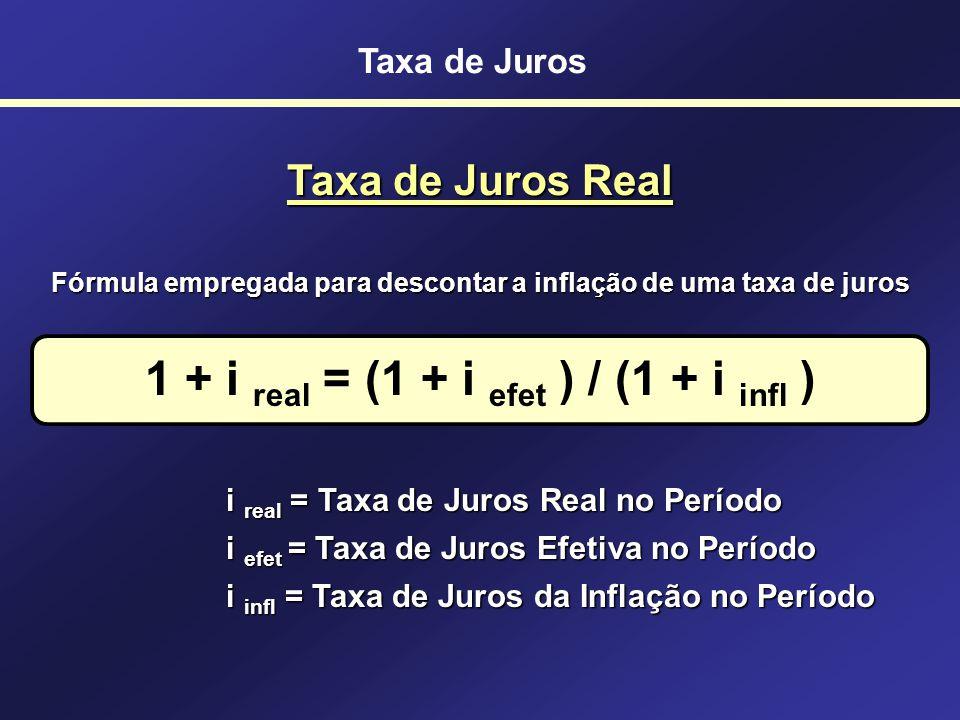1 + i real = (1 + i efet ) / (1 + i infl )