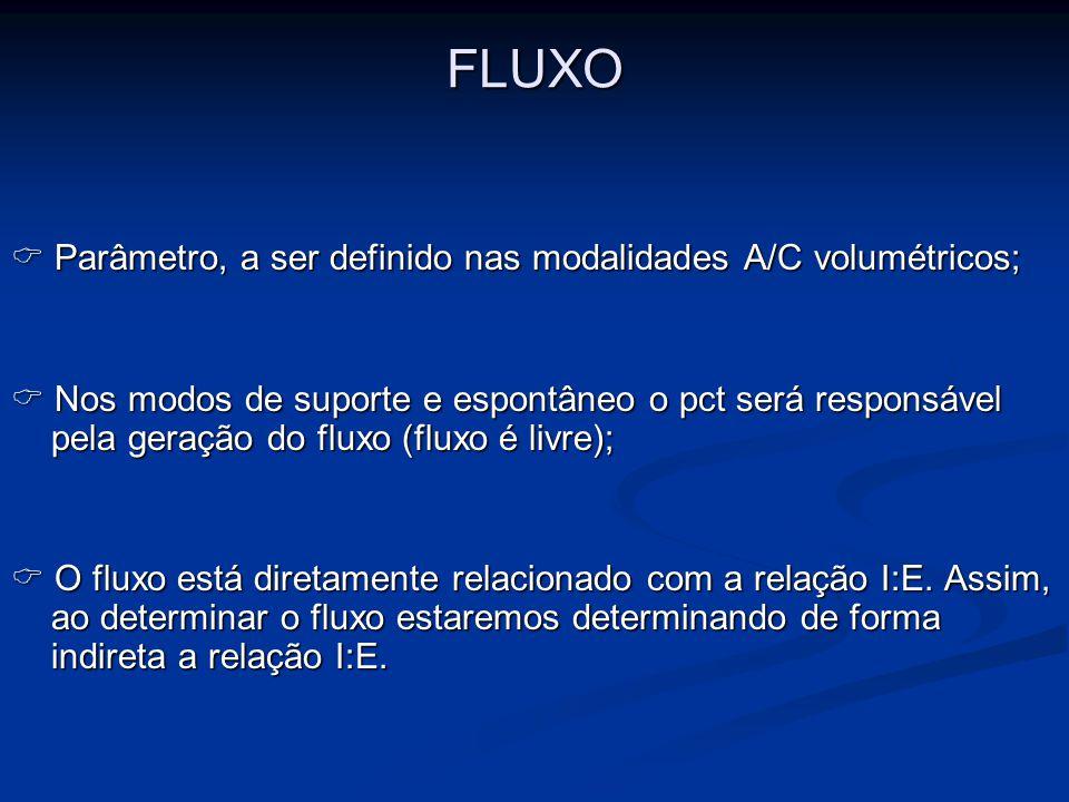 FLUXO  Parâmetro, a ser definido nas modalidades A/C volumétricos;