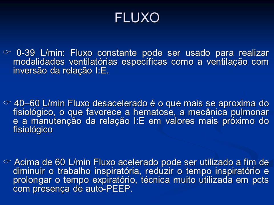 FLUXO  0-39 L/min: Fluxo constante pode ser usado para realizar modalidades ventilatórias específicas como a ventilação com inversão da relação I:E.