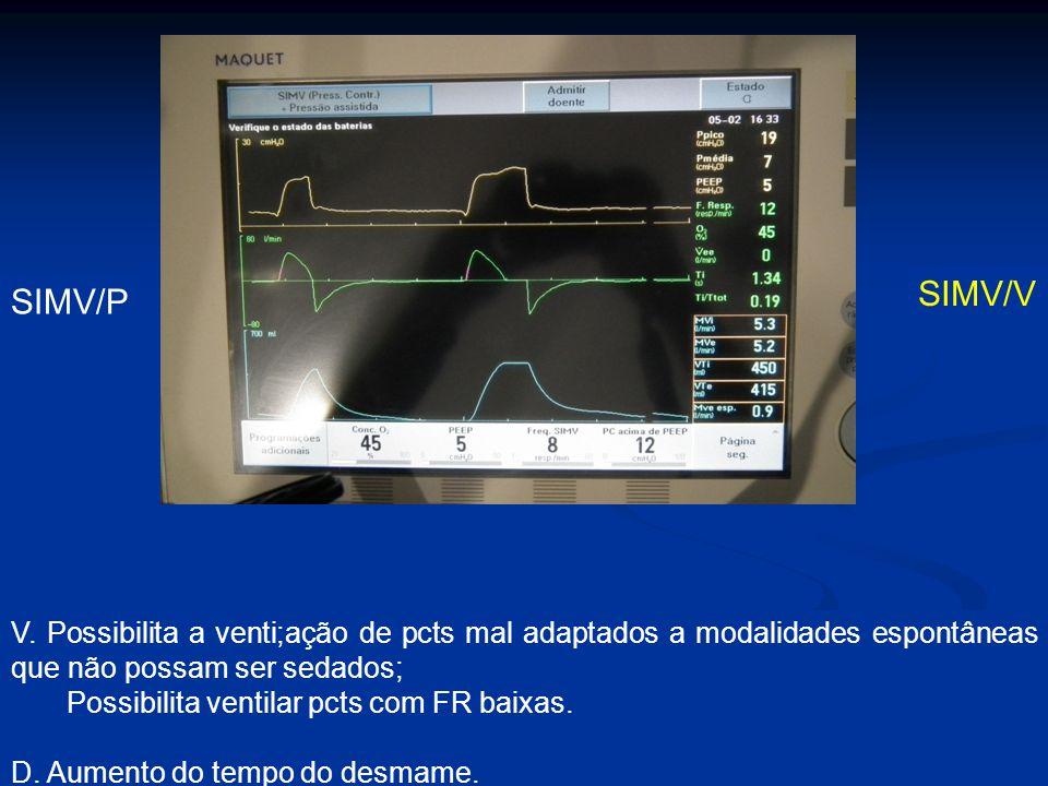 SIMV/V SIMV/P. V. Possibilita a venti;ação de pcts mal adaptados a modalidades espontâneas que não possam ser sedados;