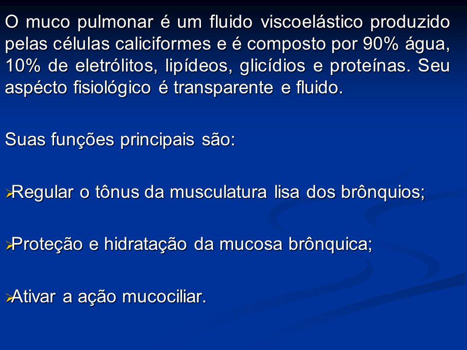 O muco pulmonar é um fluido viscoelástico produzido pelas células caliciformes e é composto por 90% água, 10% de eletrólitos, lipídeos, glicídios e proteínas. Seu aspécto fisiológico é transparente e fluido.