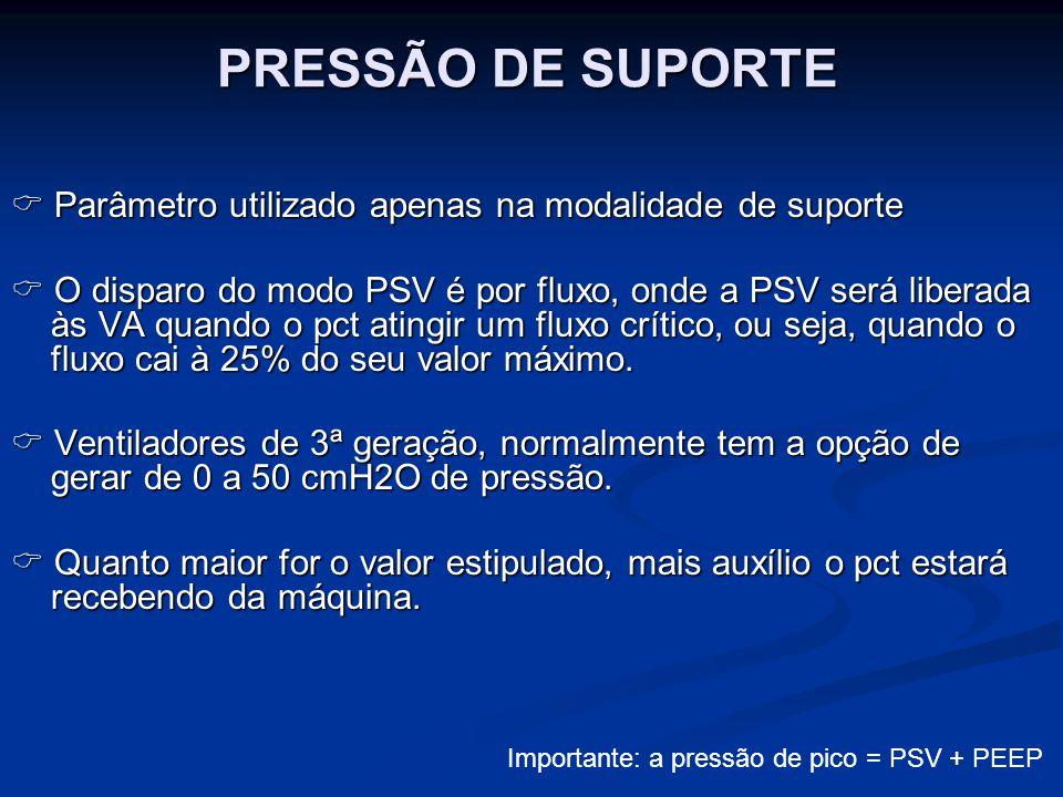 PRESSÃO DE SUPORTE  Parâmetro utilizado apenas na modalidade de suporte.