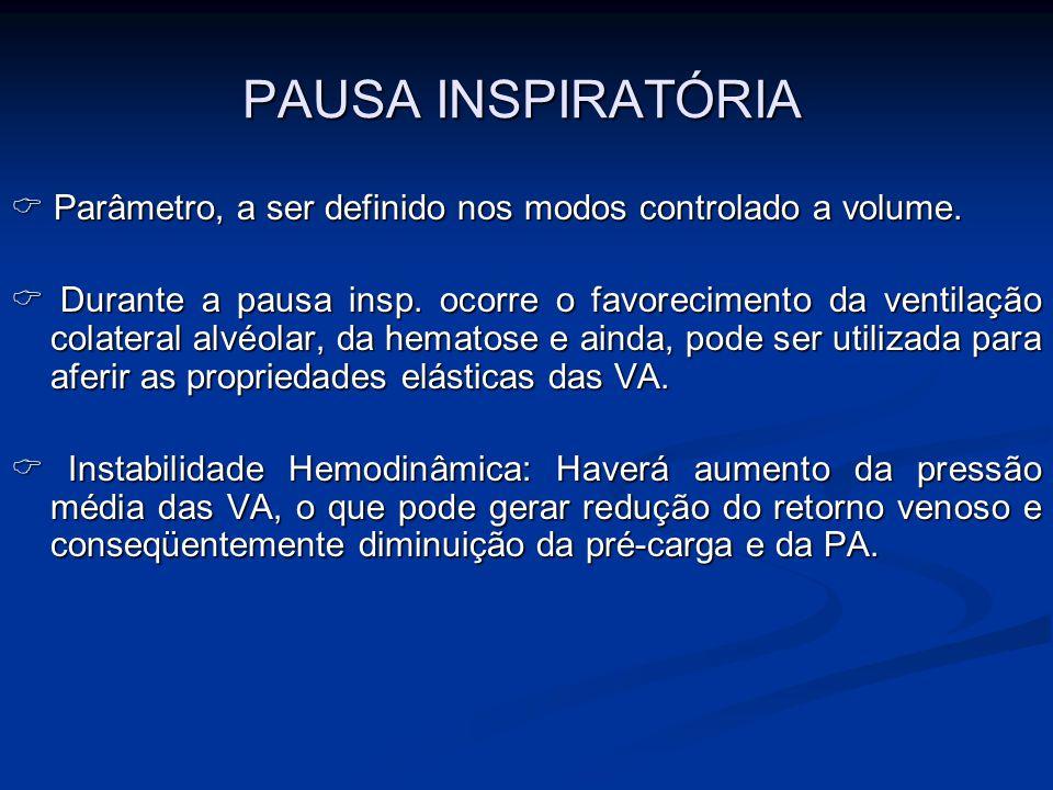 PAUSA INSPIRATÓRIA  Parâmetro, a ser definido nos modos controlado a volume.