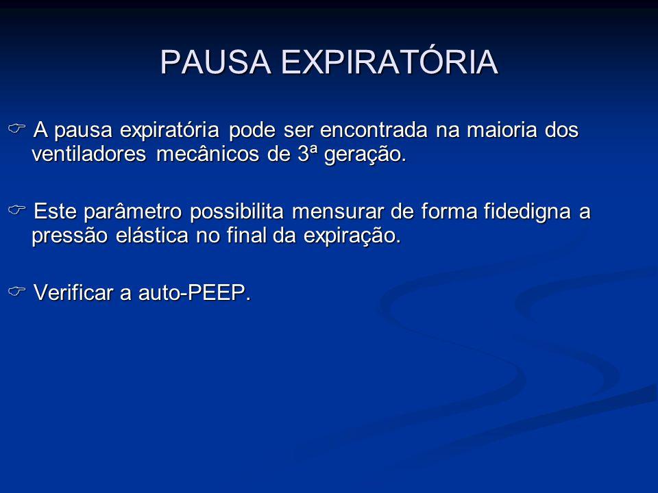 PAUSA EXPIRATÓRIA  A pausa expiratória pode ser encontrada na maioria dos ventiladores mecânicos de 3ª geração.