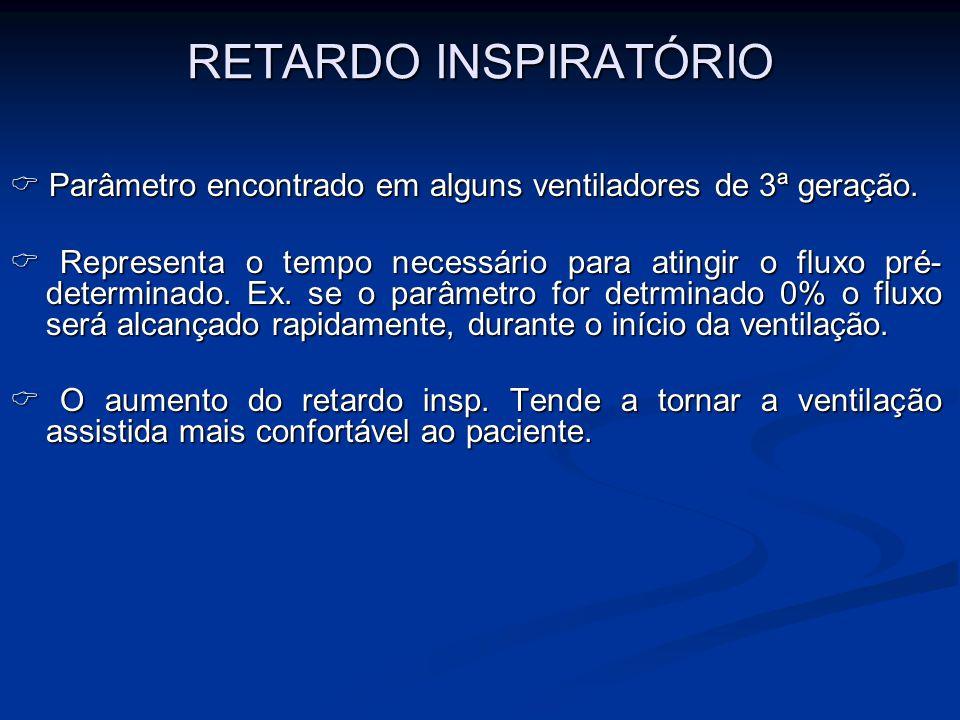 RETARDO INSPIRATÓRIO  Parâmetro encontrado em alguns ventiladores de 3ª geração.