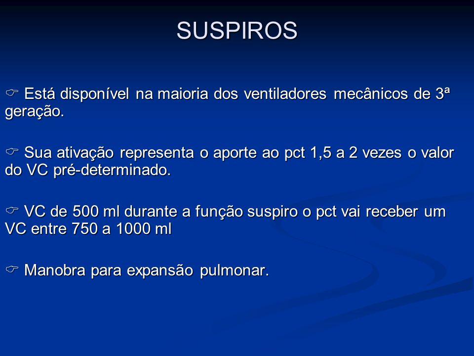 SUSPIROS  Está disponível na maioria dos ventiladores mecânicos de 3ª geração.