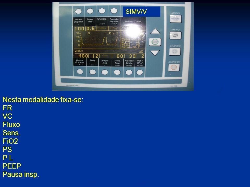 Nesta modalidade fixa-se: FR VC Fluxo Sens. FiO2 PS P L PEEP