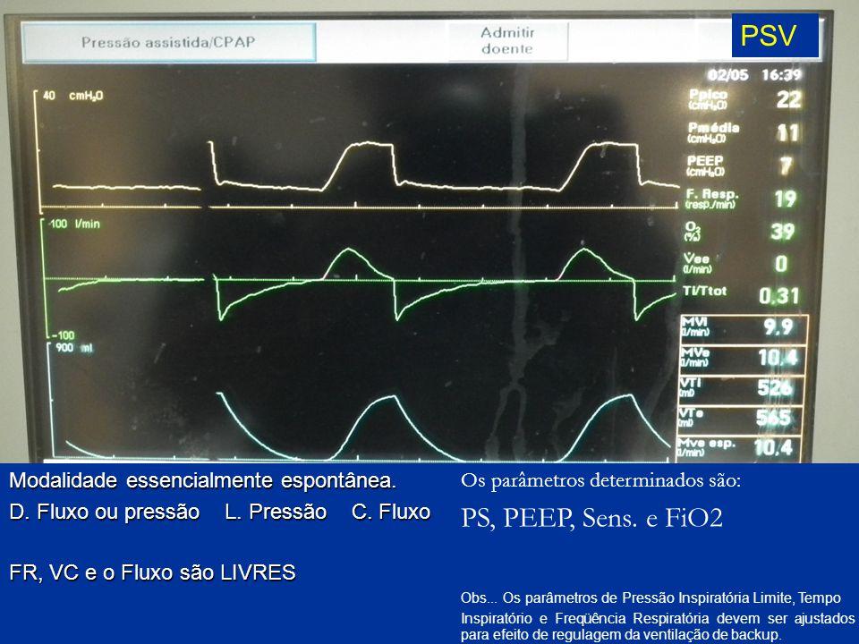 PSV PS, PEEP, Sens. e FiO2 Modalidade essencialmente espontânea.