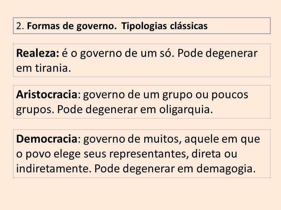 Realeza: é o governo de um só. Pode degenerar em tirania.