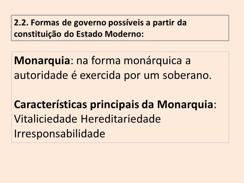 2.2. Formas de governo possíveis a partir da constituição do Estado Moderno: