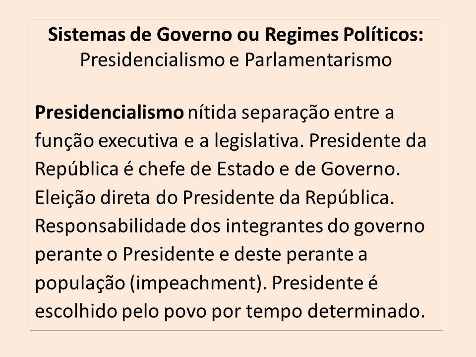 Sistemas de Governo ou Regimes Políticos: Presidencialismo e Parlamentarismo