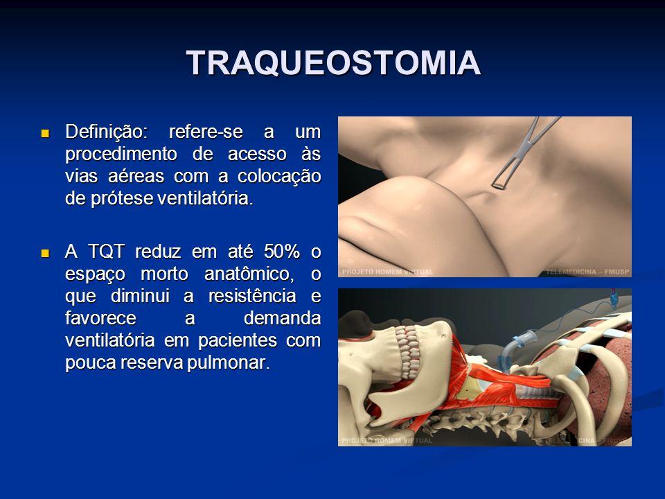 TRAQUEOSTOMIA Definição: refere-se a um procedimento de acesso às vias aéreas com a colocação de prótese ventilatória.