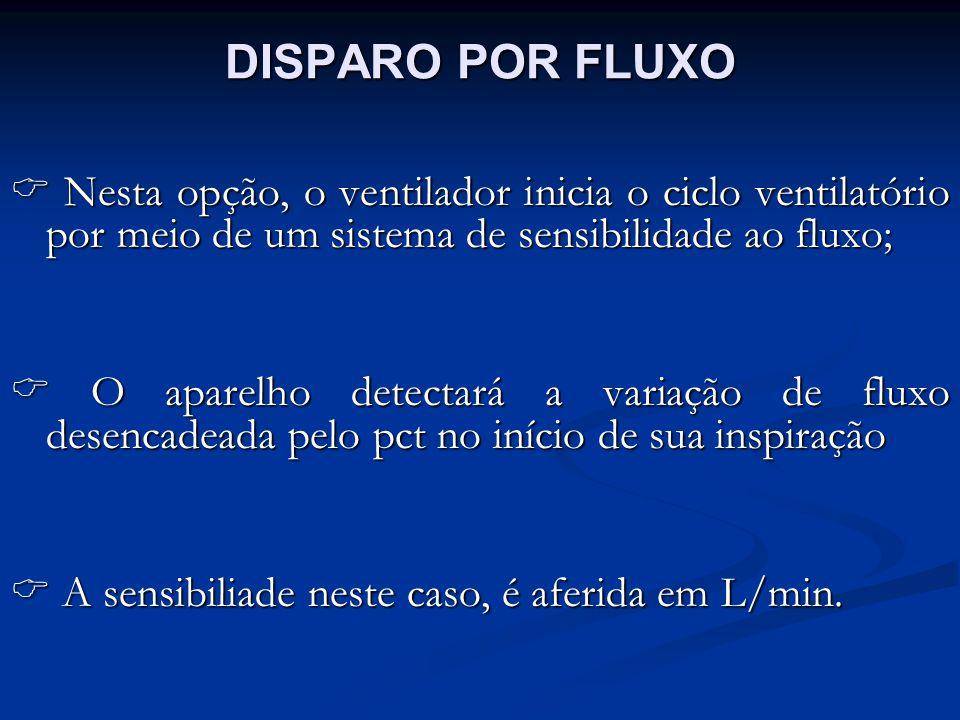 DISPARO POR FLUXO  Nesta opção, o ventilador inicia o ciclo ventilatório por meio de um sistema de sensibilidade ao fluxo;