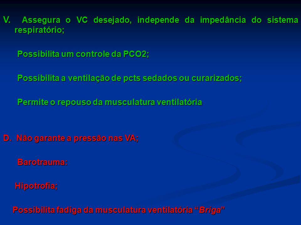 V. Assegura o VC desejado, independe da impedância do sistema respiratório;