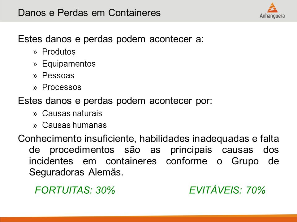 Danos e Perdas em Containeres