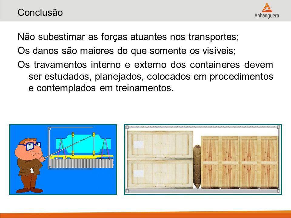 Conclusão Não subestimar as forças atuantes nos transportes; Os danos são maiores do que somente os visíveis;