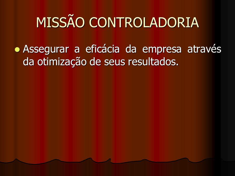 MISSÃO CONTROLADORIA Assegurar a eficácia da empresa através da otimização de seus resultados. ot