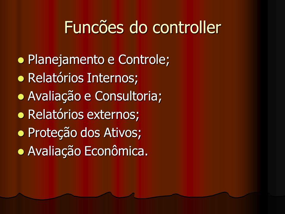 Funcões do controller Planejamento e Controle; Relatórios Internos;