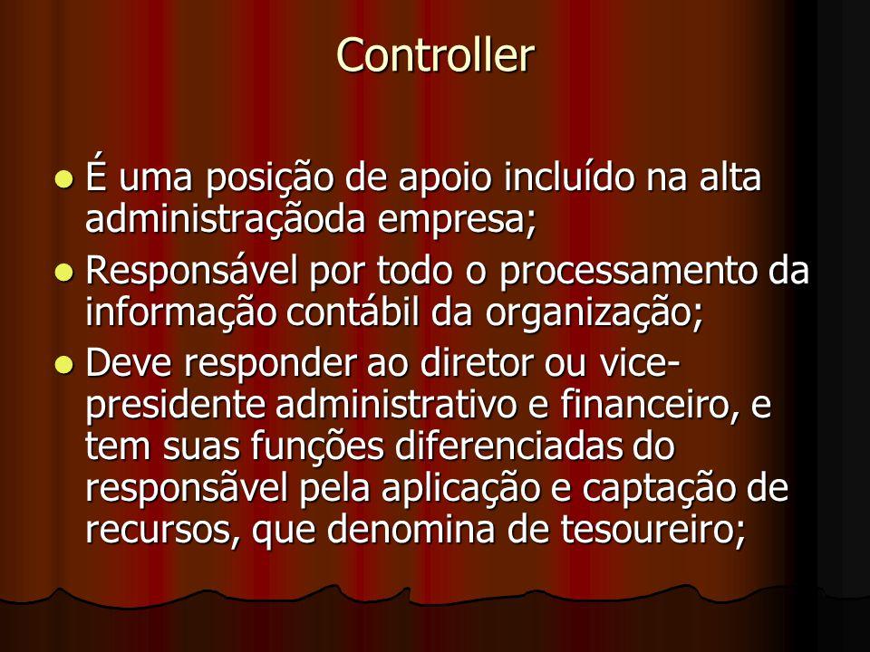 Controller É uma posição de apoio incluído na alta administraçãoda empresa;