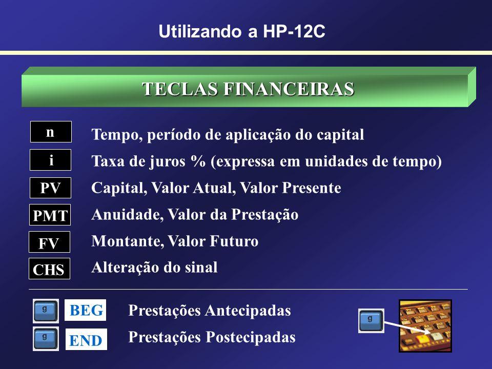 TECLAS FINANCEIRAS Utilizando a HP-12C