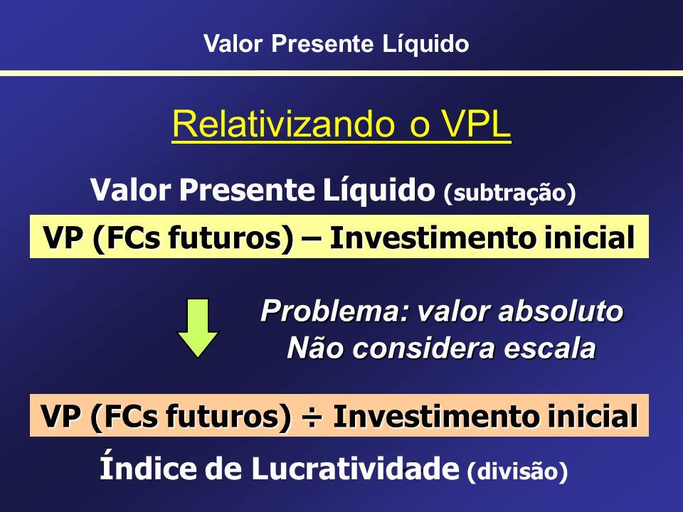 ÷ Relativizando o VPL Valor Presente Líquido (subtração)