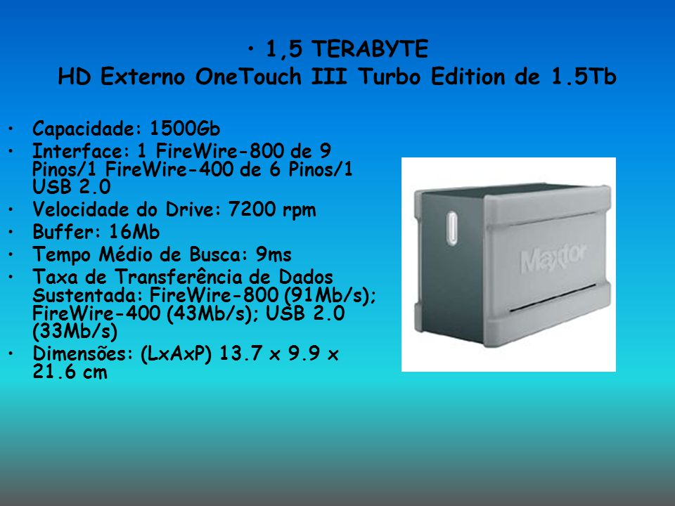 1,5 TERABYTE HD Externo OneTouch III Turbo Edition de 1.5Tb