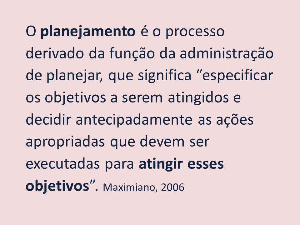 O planejamento é o processo derivado da função da administração de planejar, que significa especificar os objetivos a serem atingidos e decidir antecipadamente as ações apropriadas que devem ser executadas para atingir esses objetivos .