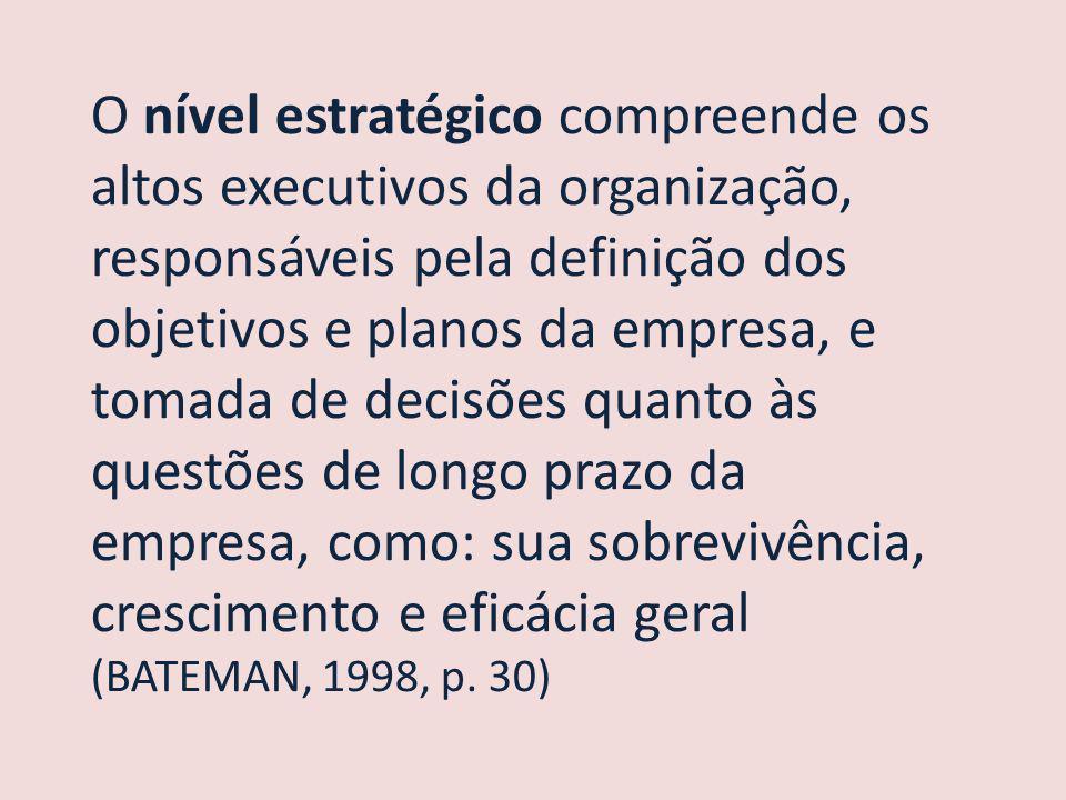 O nível estratégico compreende os altos executivos da organização, responsáveis pela definição dos objetivos e planos da empresa, e tomada de decisões quanto às questões de longo prazo da empresa, como: sua sobrevivência, crescimento e eficácia geral (BATEMAN, 1998, p.