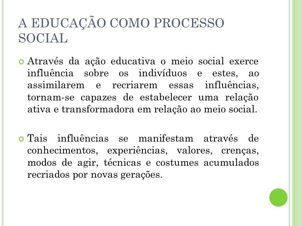 A EDUCAÇÃO COMO PROCESSO SOCIAL